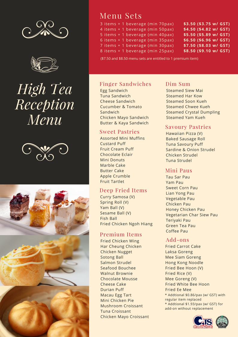 Tea Reception from $3 50+/Pax($3 75 W gst)_CJS CATERING,Your One